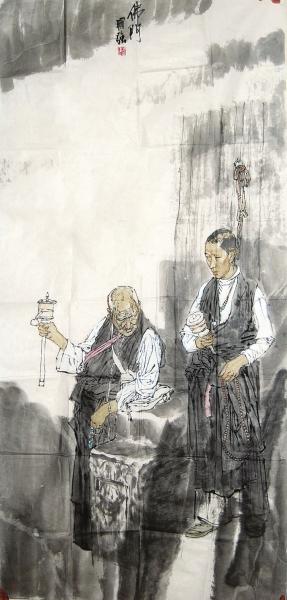 马国强(1952-)《佛门》设设色色纸纸本本136136xx6868厘厘米米