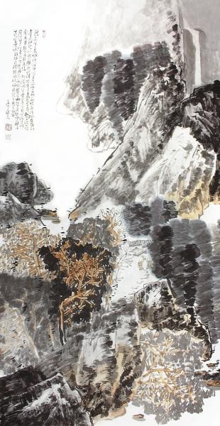 封曙光(1957-)《山中隐》设色纸本137x68厘米