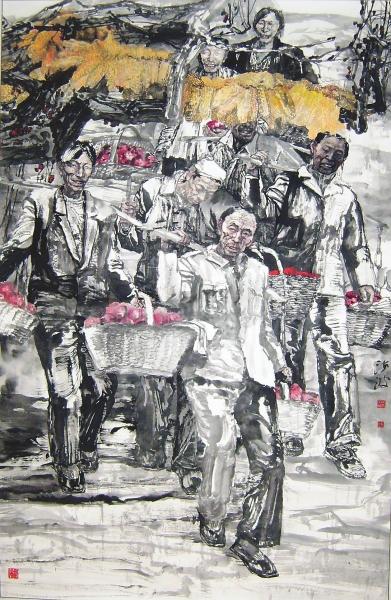 袁汝波(1956-)《苹果熟了》设色纸本193x123厘米