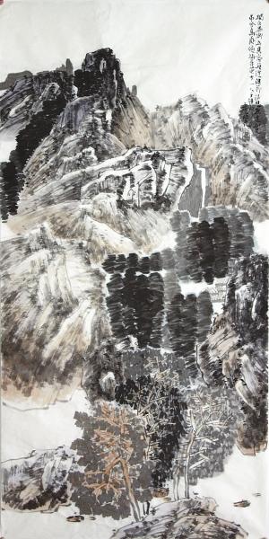 封曙光(1957-)《王维诗意图》设色纸本137x68厘米