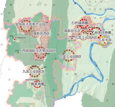 九龙坡区产业规划布局图局部 商报图形 王若静 制