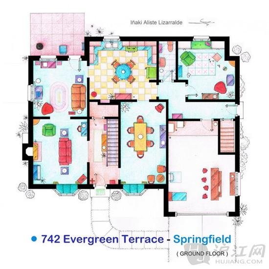 手绘美剧公寓平面图:走进主人公家中看一看吧