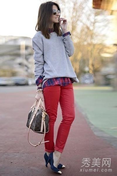 欧美时尚街拍 显瘦紧身裤渐成流行风向标 组图图片