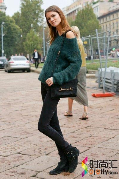 显瘦紧身裤走起 欧美时尚街拍