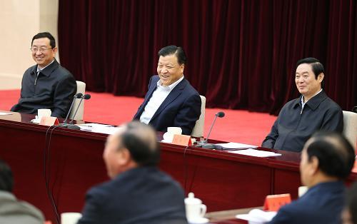 4月8日,中共中央政治局常委、中央书记处书记刘云山在北京出席深化中国梦宣传教育座谈会并讲话。新华社记者 姚大伟 摄
