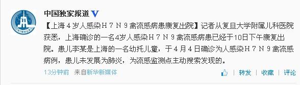 """中新网4月10日电据新华社微博""""中国独家报道""""消息,上海确诊的一名4岁人感染H7N9禽流感病患已经于10日下午康复出院。"""