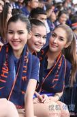 幻灯:泰国美女啦啦队看台助兴 长腿齐座笑容美