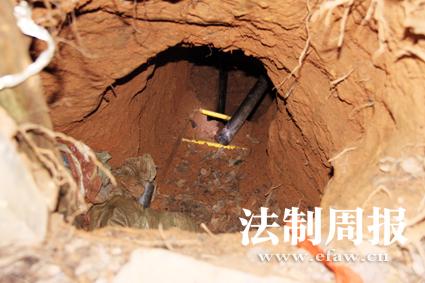 盗墓分子挖掘出的盗洞几乎深不见底