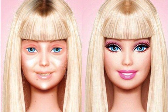 芭比娃娃卸妆前后