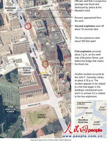 《纽约时报》刊登的爆炸地点截图。