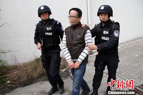 图为抓获的犯罪嫌疑人。中新社发 榕警 摄