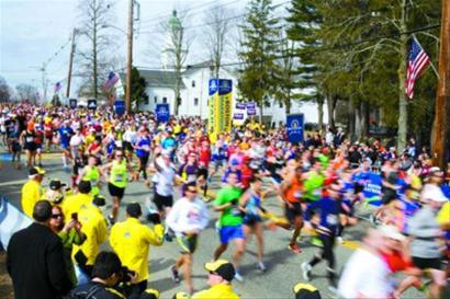 当地时间4月15日,选手参加波士顿马拉松比赛 新华社/路透