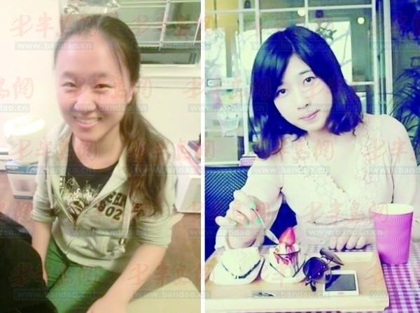 左图为:在爆炸中受伤的中国留学生周丹龄.