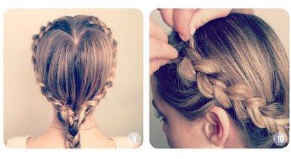 把头发编到耳后,然后你可以开始在编发的过程中将自己的头发一点点加