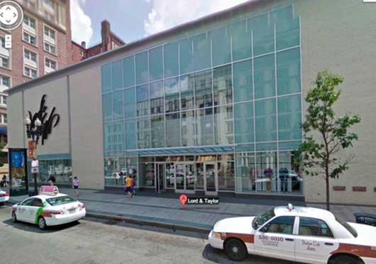 图片说明:被锁定嫌疑犯出现在爆炸案附近的Lord & Taylor的百货公司。(图片来自谷歌地图)