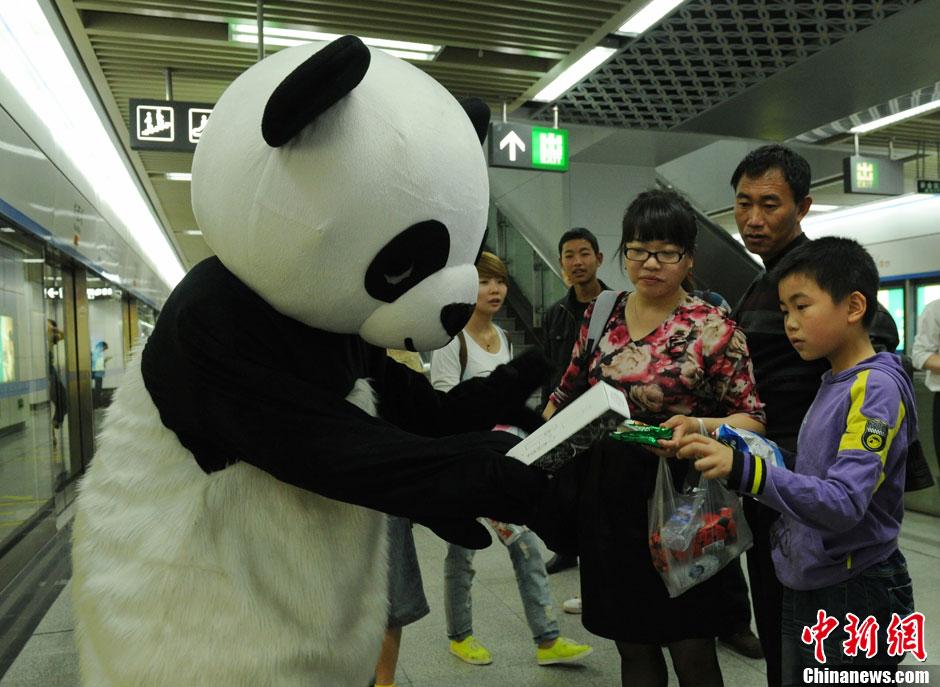 """成都""""大熊猫""""走进地铁寻找文明出行者(高清组图)"""