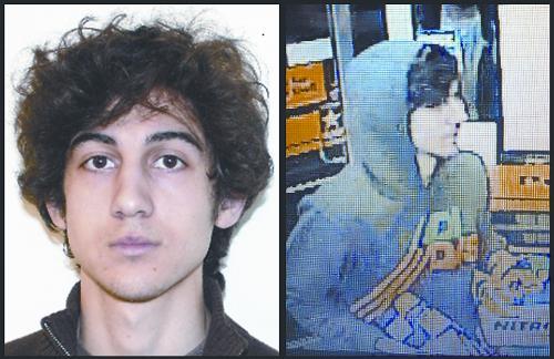 美国波士顿爆炸案公布的嫌犯照片。