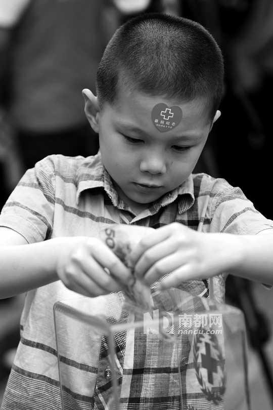 昨日下午,莲花山公园,深圳市红十字会为雅安地震灾区募捐,一位孩子往募捐箱里捐钱。