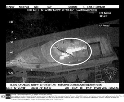 疑犯最后藏身船只的热影像图。