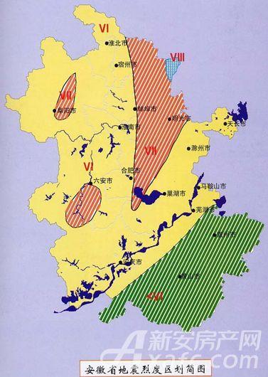 安徽省地震烈度区区划简图。