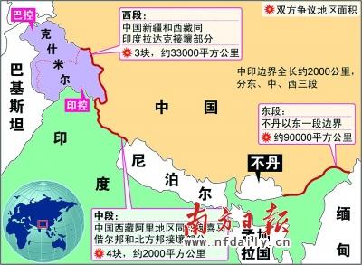 中印边界争议示意图