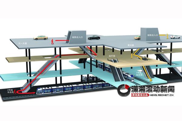 香港地铁换乘�z*_长沙地铁1号线与2号线换乘只需乘直电梯完成(组图)