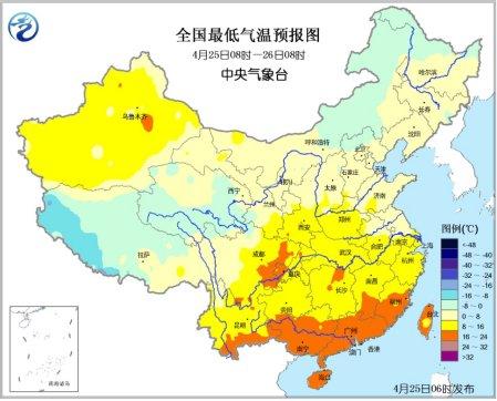 四川芦山地震灾区气温升高 华南有较强降雨