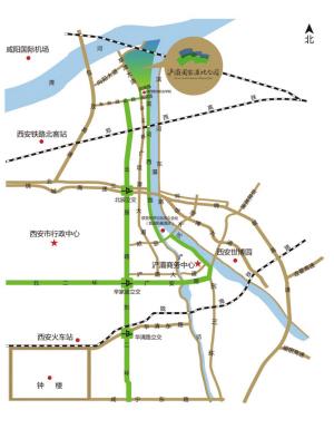 西安/西安浐灞国家湿地公园交通区位示意图