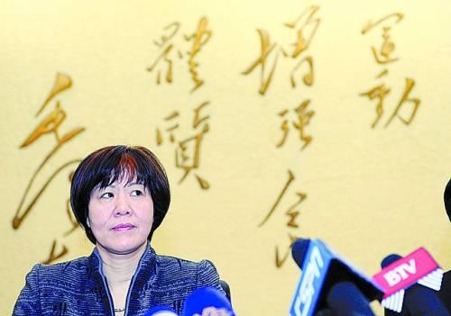 4月25日,新任女排国家队主教练郎平在媒体见面会上。CFP供图