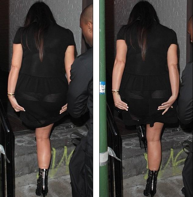 金·卡戴珊当妈妈风骚不减 黑透明短裙大秀丁字裤美臀