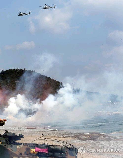 韩美海军陆战队在浦项进行联合演习(图)