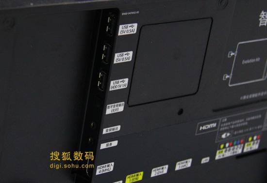 提供三个USB接口和4和HDMI接口,专门的机顶盒接口标注了黄色