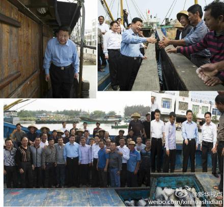 资料图:习近平总书记来到海南省琼海市潭门镇看望海上民兵连。