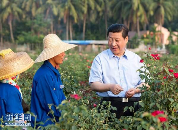 9日下午,习近平在亚龙湾兰德玫瑰风情产业园向花农了解玫瑰种植管理技术。 新华社记者 李学仁 摄