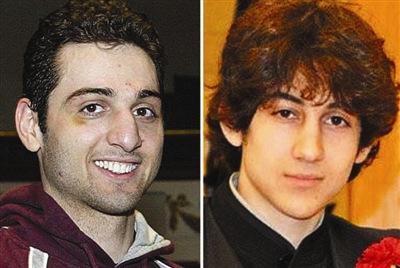 资料图:美国波士顿爆炸案嫌犯塔梅尔兰・察尔纳耶夫左和焦哈尔・察尔纳耶夫