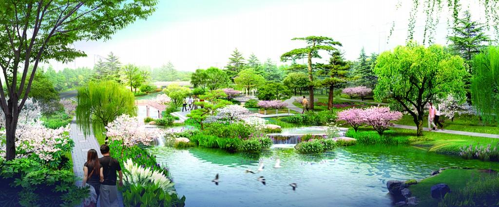 该区域的景观设计以植物造景为主,局部穿插部分园路及休闲设施.