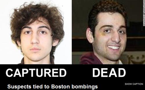 波士顿爆炸案嫌犯:左为焦哈尔;右为梅尔兰已死亡