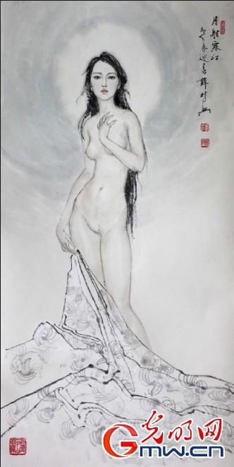 薛林兴/月射寒江。薛林兴作品。