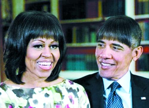 奥巴马拿自己开涮,偷师米歇尔发型