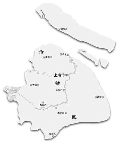 手绘地图 上海 简笔