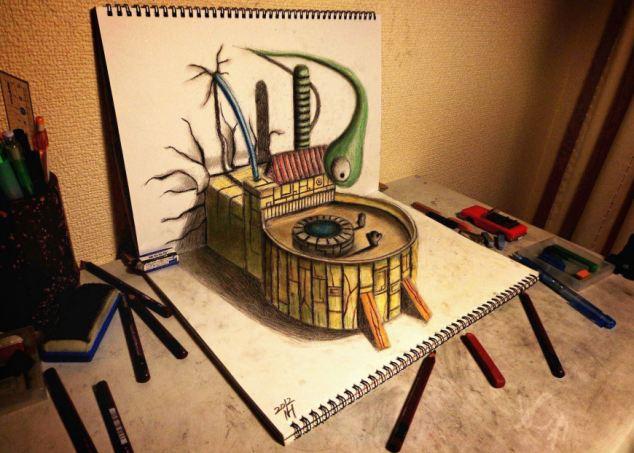 日本画家铅笔勾勒创意立体画作(图)