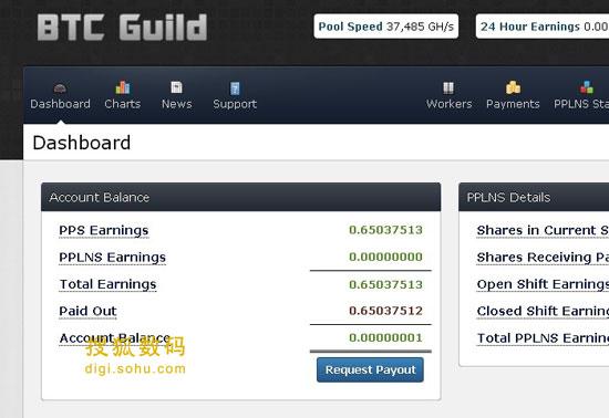 挖矿网站上显示的比特币收获