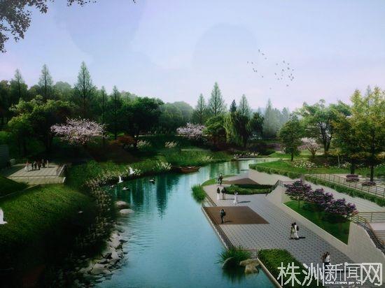 株洲河东风光带白石港段预计7月可见实景效果