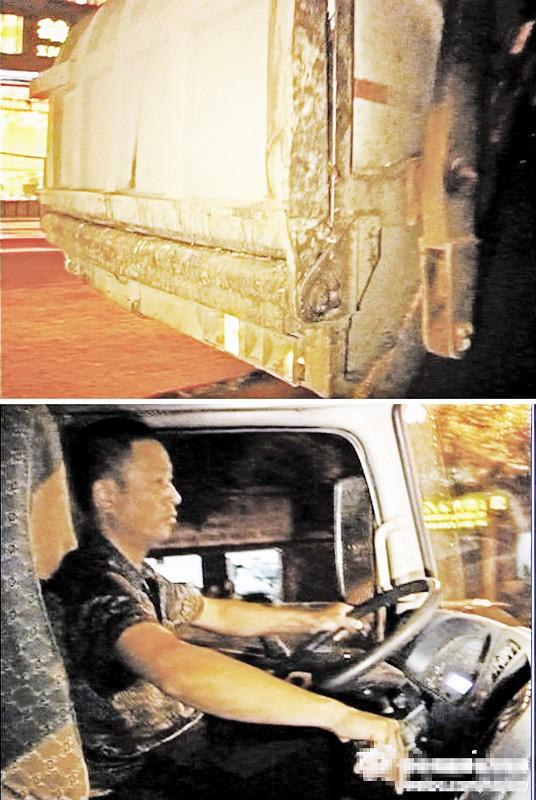 徐军驾着垃圾车夜色中归来 图片来源于微博