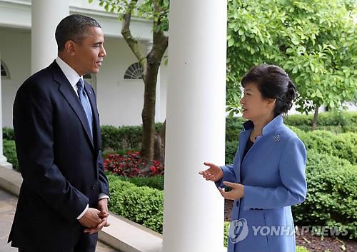 5月7日,韩国总统朴槿惠和美国总统奥巴马进行会晤。