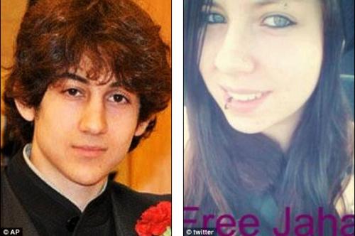 左为波士顿爆炸案嫌犯焦哈尔,右为对其表达爱意的一名美国女子