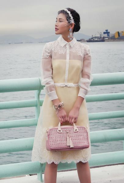 dissona粉红色心形镂空长方手提包