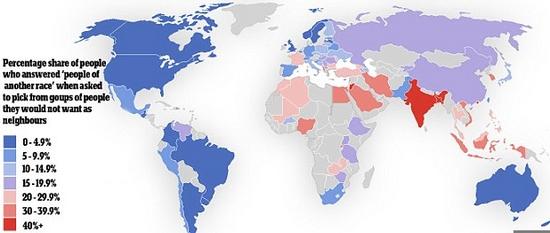 地图显示世界各地种族主义倾向 香港被指最不宽容图片