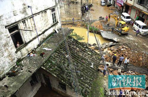 大坝溃堤,洪水损毁从化仙溪村九成房屋2