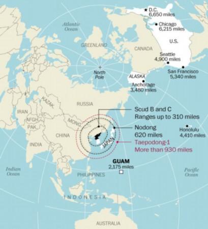 朝鲜导弹射程。